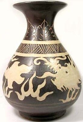 LG Medieval Mongol 1300AD Yuan Dynasty China Incised Dragon Glazed Ceramic Vase