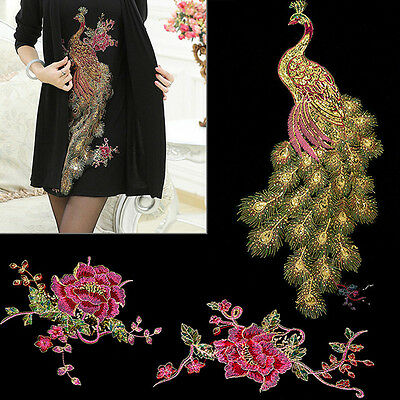 DIY Peacock Flower Sequins Embroidered Patches For Clothes Applique Embroidery