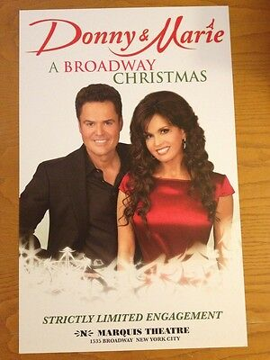 DONNY & MARIE [OSMOND] A BROADWAY CHRISTMAS Window Card Poster  MINT