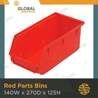1x Box of 12 Red Plastic Spare Parts Bins Storage Bin Global Machinery SO0205
