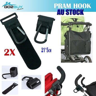2x Pram Hook Baby Kids Stroller Hooks Shopping Bag Clip Carrier Pushchair Hanger