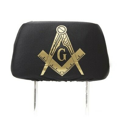 One Masonic Headrest Cover- Black - Mason Freemason