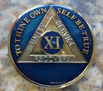 AA Tri-Plate Alcoholics Anonymous Blue/Gold Coin 11 Years Chip Token Medallion