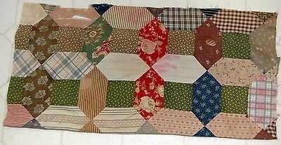 Early Madder Shirting Poison Green Calico Patchwork Quilt Top Study Repurpose
