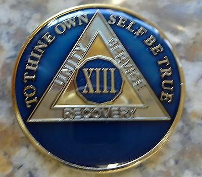 AA Blue Gold 13 Year Coin Tri-Plate Alcoholics Anonymous Medallion Sobriety Chip