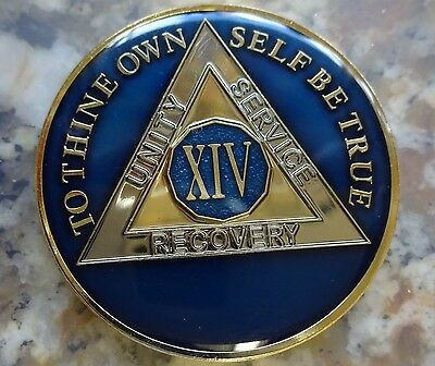 AA Blue Gold 14 Year Coin Tri-Plate Alcoholics Anonymous Medallion Sobriety Chip