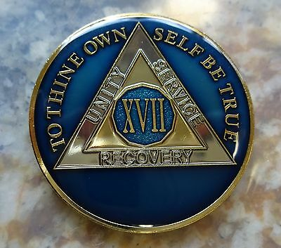 AA Blue Gold 17 Year Coin Tri-Plate Alcoholics Anonymous Medallion Sobriety Chip
