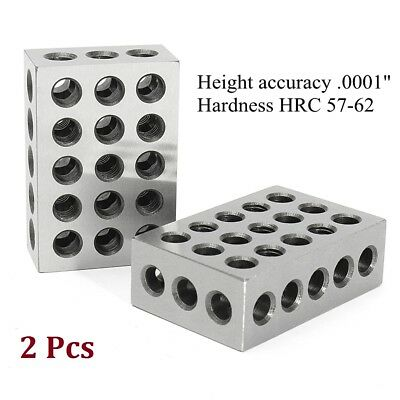 "2pcs 1-2-3 Blocks 0.0001"" Precision Matched Machinist 123 Milling Tool 23 Holes"