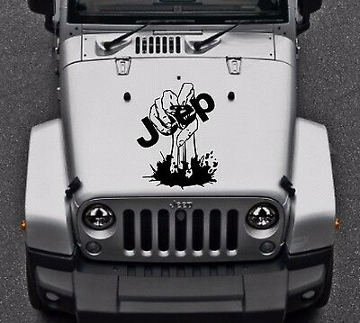 "ZOMBIE HAND Hood Walking Dead Vinyl Car Truck Decal 15""x20"" (Fits Jeep Wrangler)"