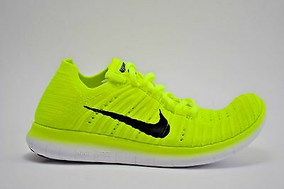 ecc8000ddf446 Women Nike Free RN Flyknit MS Running Shoes Sz 10.5 Volt Black White 842546  700
