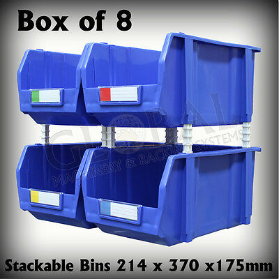 Stackable Plastic Parts Bins 214mm x 370mm x 175mm Storage Global SO0308