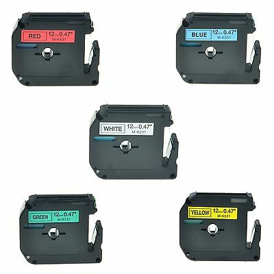 """5PK MK 231 431 531 631 731 Label Tape for Brother P-Touch PT-70HOT Printer 1/2"""""""