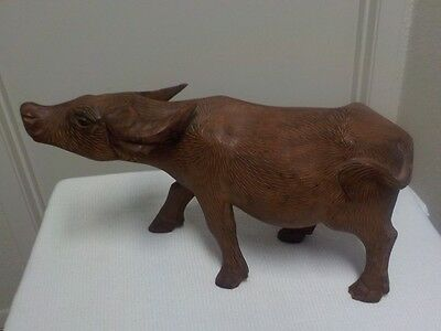 Chinese Carved Wood Statue of Ox or Water Buffalo IN Attack STANCE
