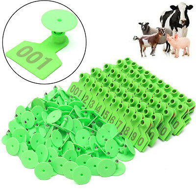 Plastic 1-100 Number Animal Livestock Ear Tag Set For Goat Sheep Pig Cow Green