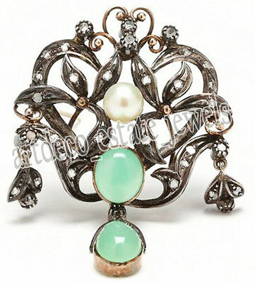 0.90ct ROSE CUT DIAMOND PEARL & EMERALD .925 STERLING SILVER / BROOCH PIN