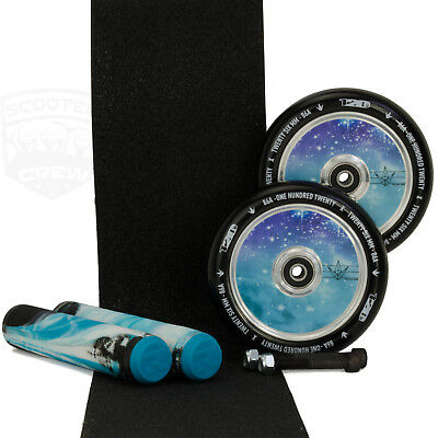 Envy 120mm Hollow Core Galaxy Scooter Wheels + Root Arctic Grips + Tape