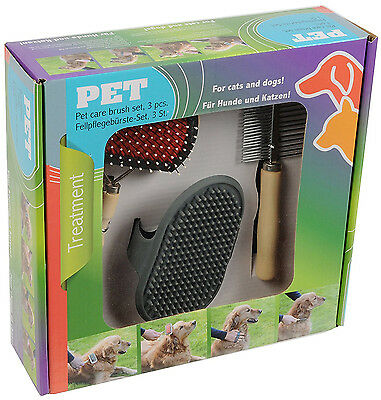 Dog & Cat Pet Care 3 PC Luxury Brush Cleaning Grooming Set Comb Kit Cats & Dogs