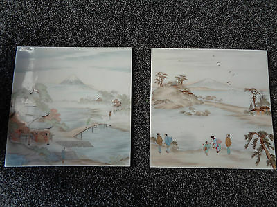 Two Vintage Enamel on Glass Tiles Depicting Oriental Scenes