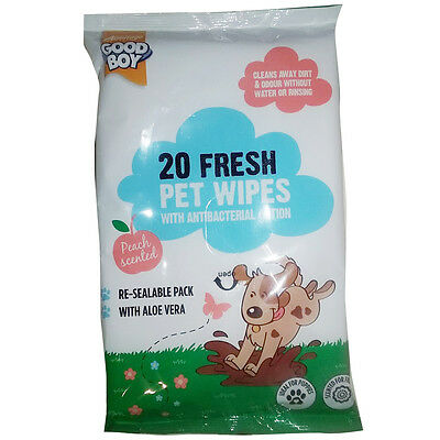Armitage Good Boy x20 Fresh Pet Dog Cleaning Wipes + Antibacterial Peach Scented