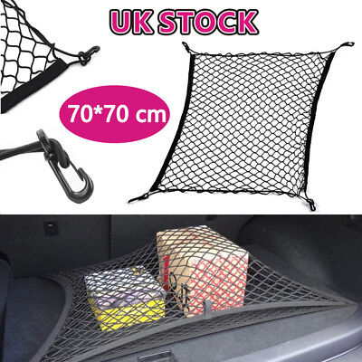 Large Elastic Car Cargo Tidy Net Storage Boot Net Fixing Points Saftey 70 X70cm