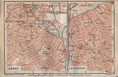 1910 Baedeker Antique Map- Uk-Town Plan, Derby & Leicester, 2 Images