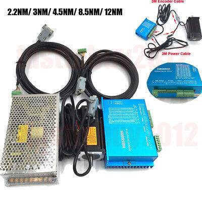 12NM DSP Closed Loop Stepper Motor Nema34 /23+Hybrid Servo Driver &Power Supply