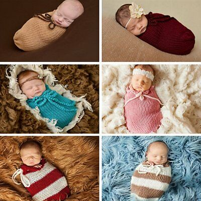 Newborn Baby Infant Knit Crochet Swaddle Wrap Swaddling Blanket Sleeping Bag Hot