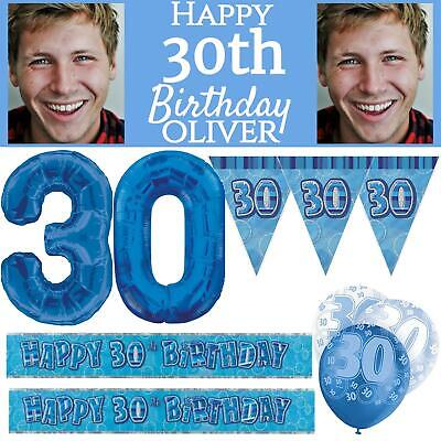 Blue Age 30 Happy 30th Birthday Party Decorations Male Celebration