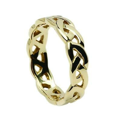 New Ladies 5mm 18ct Yellow Gold Celtic Eternal Knot Ring Made in Ireland
