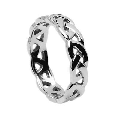 New Ladies 5mm 18ct White Gold Celtic Eternal Knot Ring Made in Ireland