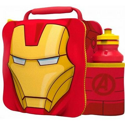 Avengers 'Iron Man' 3D Lunch Box Bag With Bottle Brand New Gift