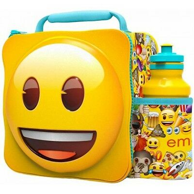 Emoji Icons 'Happy Face' 3D Lunch Box Bag With Bottle Brand New Gift