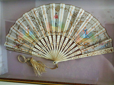 Stunning High Quality Hand Painted Silk Fan - 19th Century