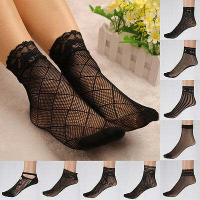 2 Pairs Women Fishnet Ankle High Socks Mesh Lace Anklet Fish Net Short Socks