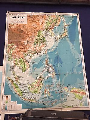 Old School Map/ Chart   Of The Far East 1947 Original Vintage