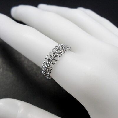 Stainless Steel Chainmaille Finger Ring - Handcrafted Micro Maille Mesh Band