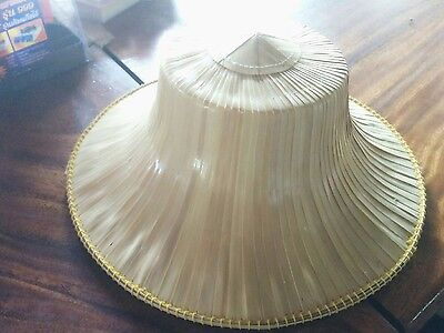 Thai Asian Oriental Handcraft weave Bamboo Farmer HAT Garden Rice Fishing Hiking