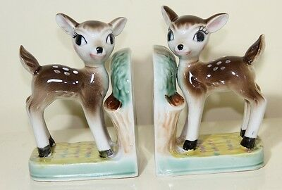 Vintage Bambi Deer Pottery BOOK ENDS 1950s 1960s