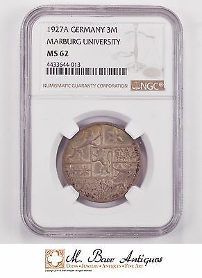 MS62 1927-A Germany 3 Marks - Marburg University - Graded NGC *807