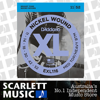D'Addario EXL116 Medium Top Heavy Bottom Electric Strings 11-52 Daddario EXL-116
