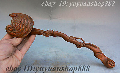 Collect Old China Dynasty Palace Boxwood Pure Hand Carved Auspicious RuYi Statue