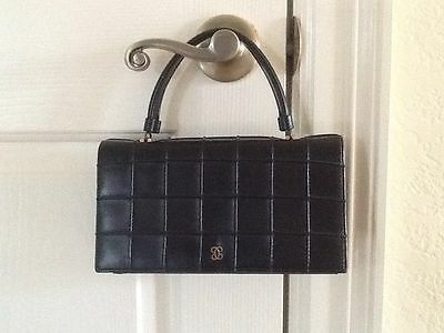 "Vintage ""Jackie O"" style, Black Evening Bag/Purse, Red Interior, Made in USA"