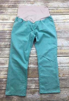 Liz Lange Maternity Teal Bootleg Stretch Jeggings Jeans Over the Belly Pants 14
