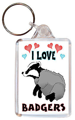 I Love Badgers / Badger - Double Sided Large Keyring Key Ring Fob Chain Gift