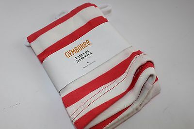 Gymboree Purrfectly Fabulous Girl's Size 5 NWT Leggings Stripe White Coral NEW