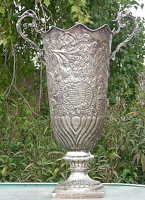 Large Antique Vase Ornate Handled Hand Tooled Silver Plated ?
