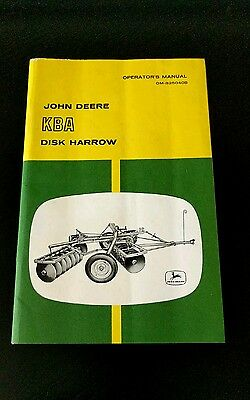 Vintage John Deere KBA Disk Harrow Book Operators Manual
