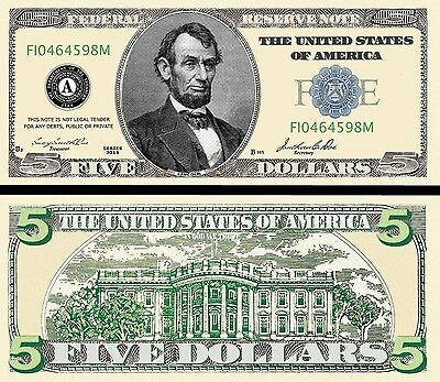 $5 Five Dollar Bill ( 100 - Pack ) Fake Play Money^