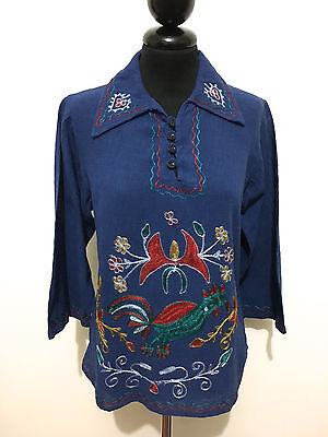 INDIA VINTAGE '70 Maglia Donna Etnica Cotton Etnic Woman T-Shirt Sz.S - 42