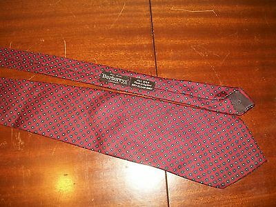 Burberry's of London silk tie red & navy made in england vintage